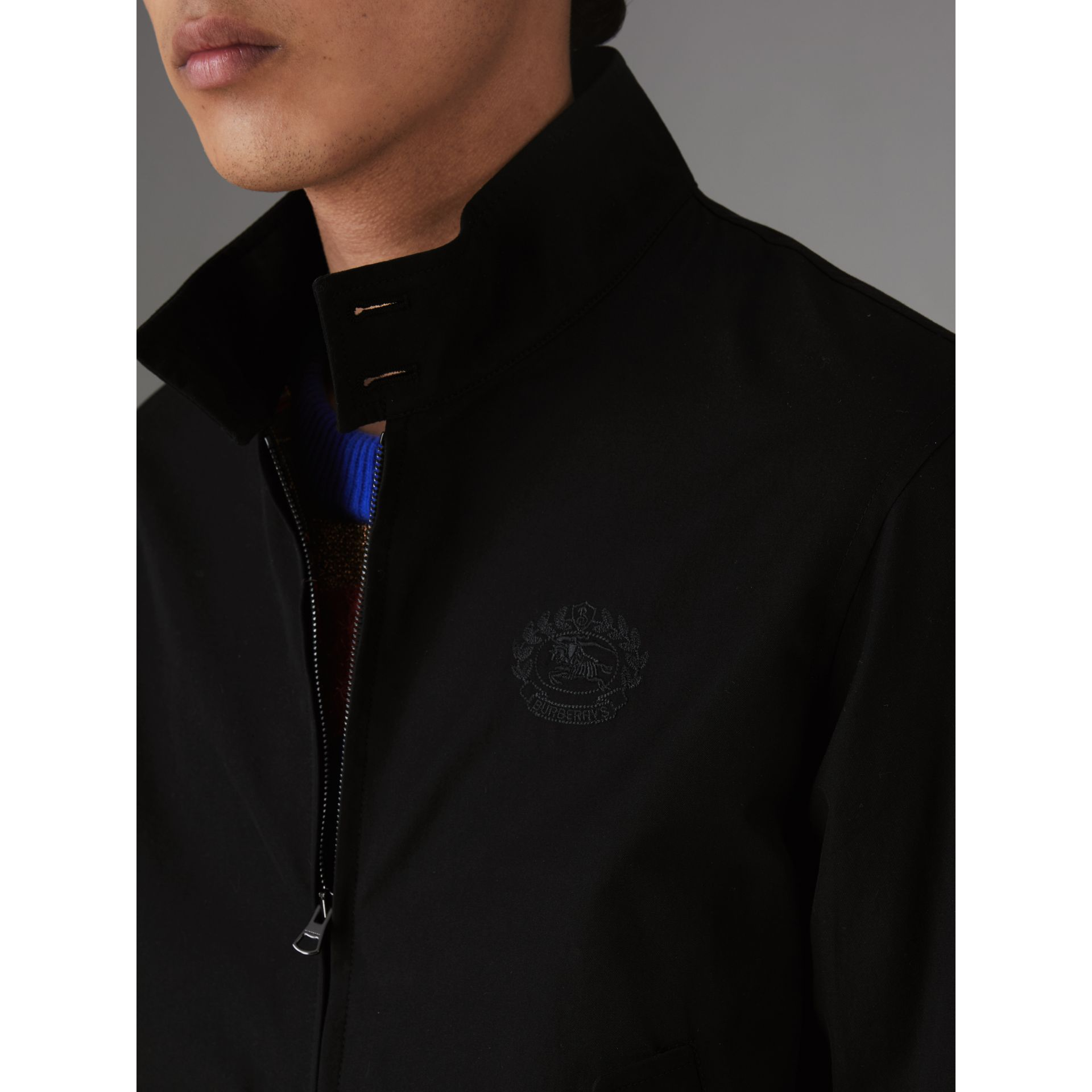 Slim Fit Tropical Gabardine Harrington Jacket in Black - Men | Burberry United States - gallery image 4