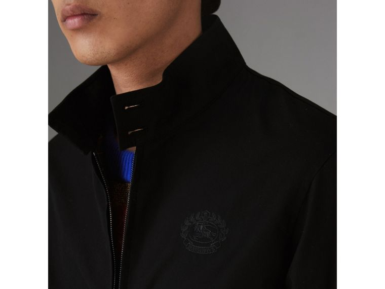 Slim Fit Tropical Gabardine Harrington Jacket in Black - Men | Burberry - cell image 4