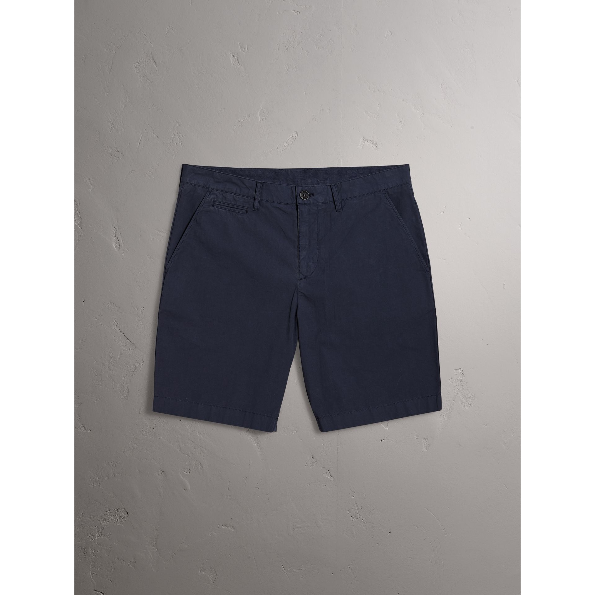 Cotton Poplin Chino Shorts in Indigo - Men | Burberry - gallery image 3