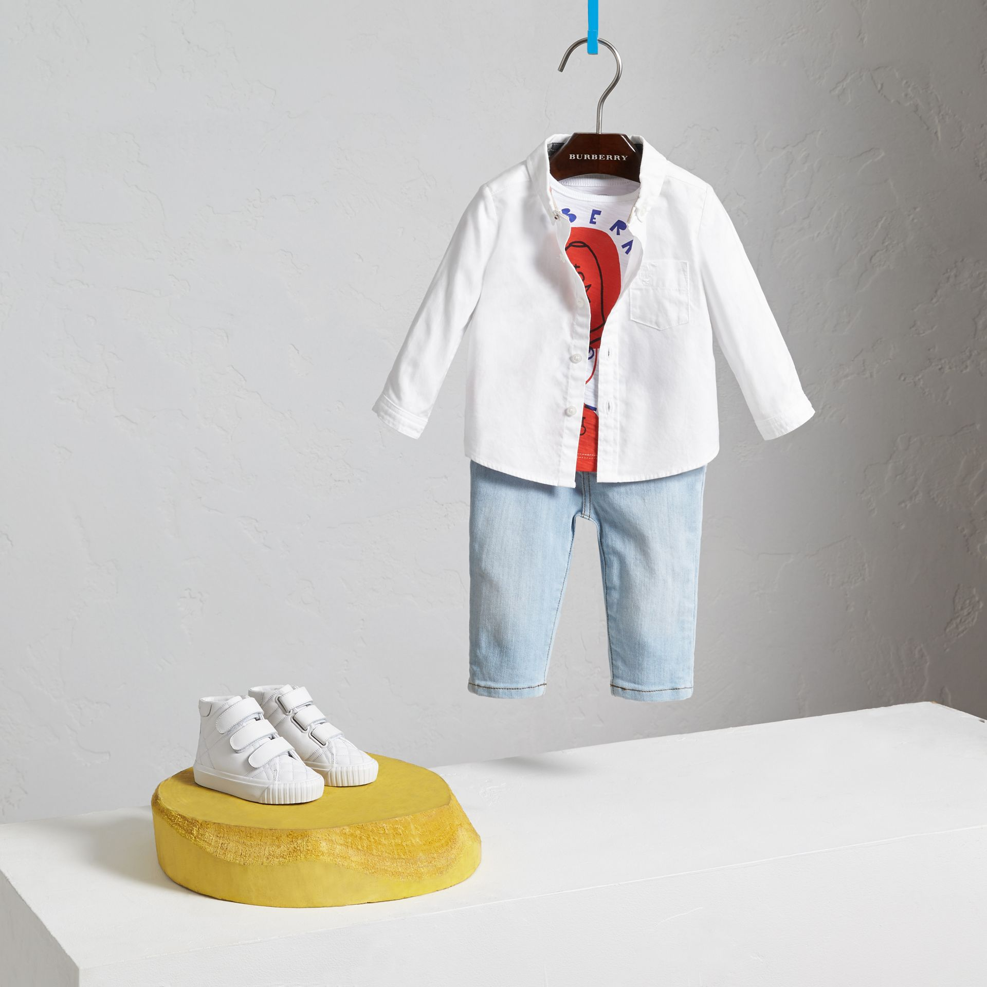 Button-down Collar Cotton Oxford Shirt in White - Children | Burberry - gallery image 2