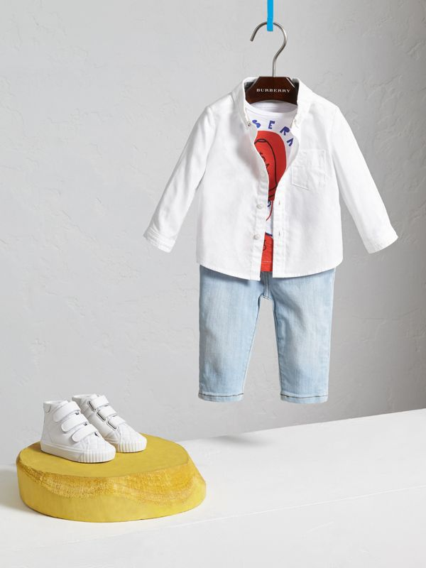 Button-down Collar Cotton Oxford Shirt in White - Children | Burberry - cell image 2