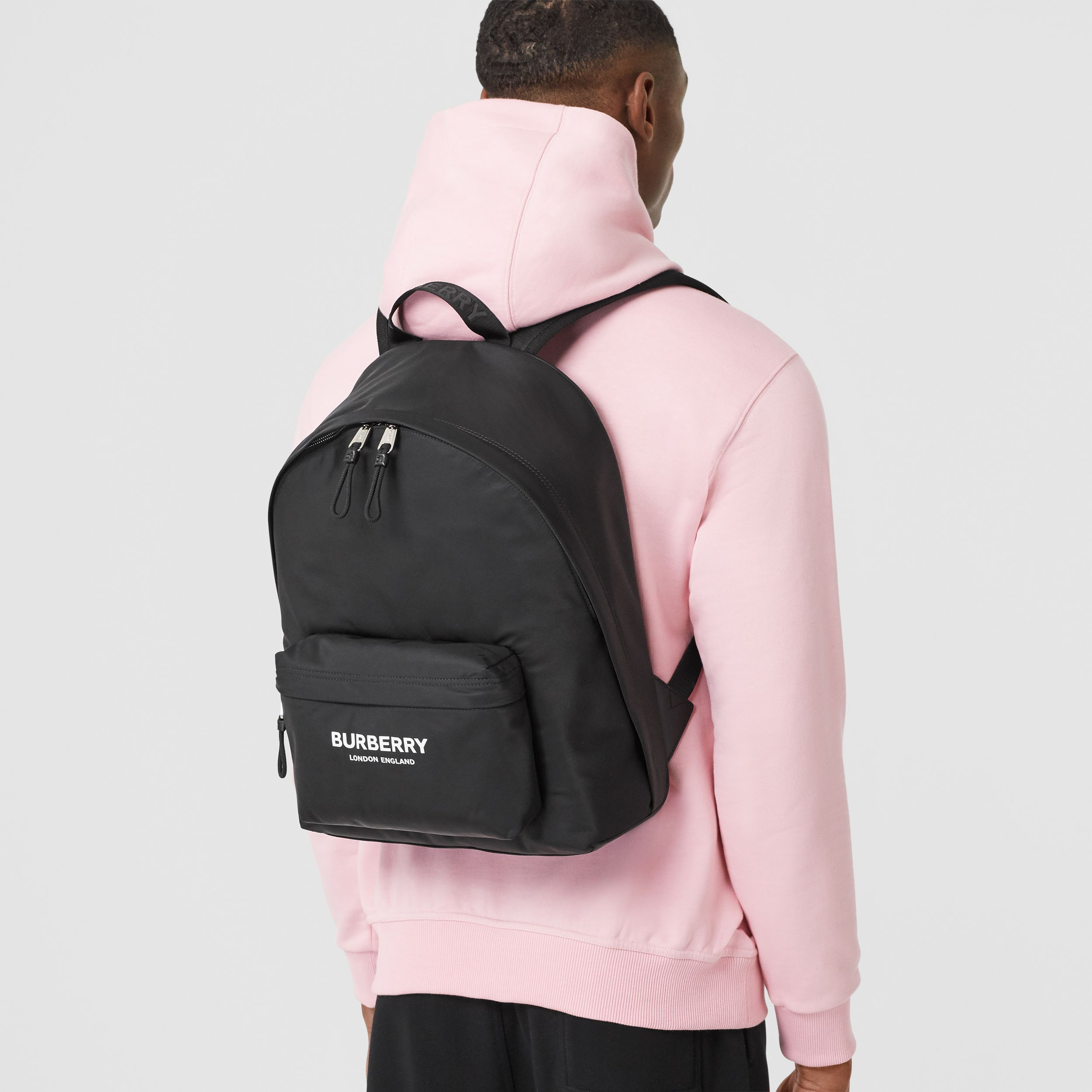 Logo Print ECONYL® Backpack in Black | Burberry United States - 4