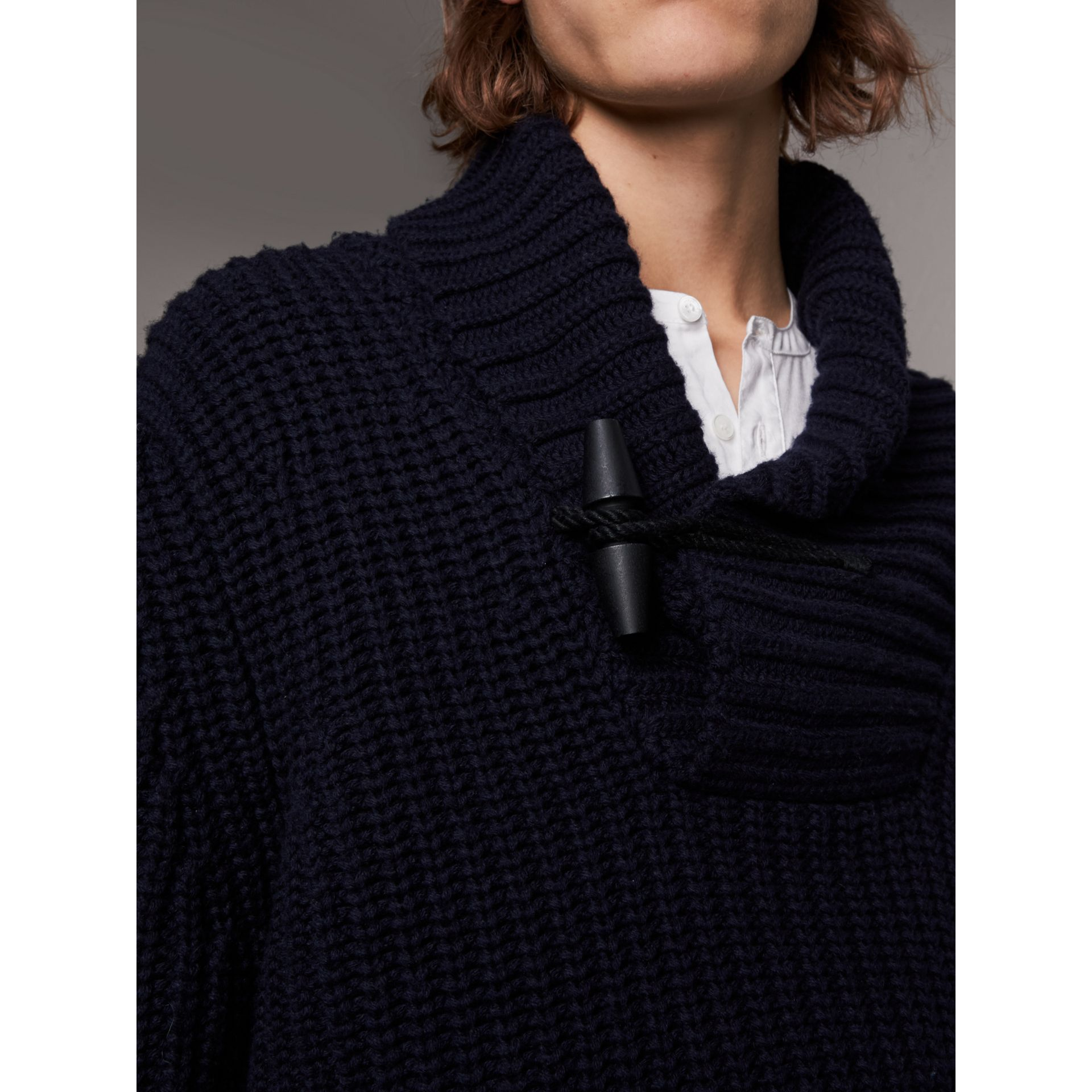Shawl Collar Wool Cashmere Sweater in Navy - Men | Burberry Singapore - gallery image 2