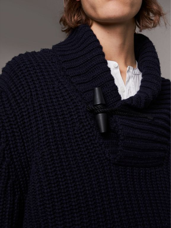 Shawl Collar Wool Cashmere Sweater in Navy - Men | Burberry - cell image 1