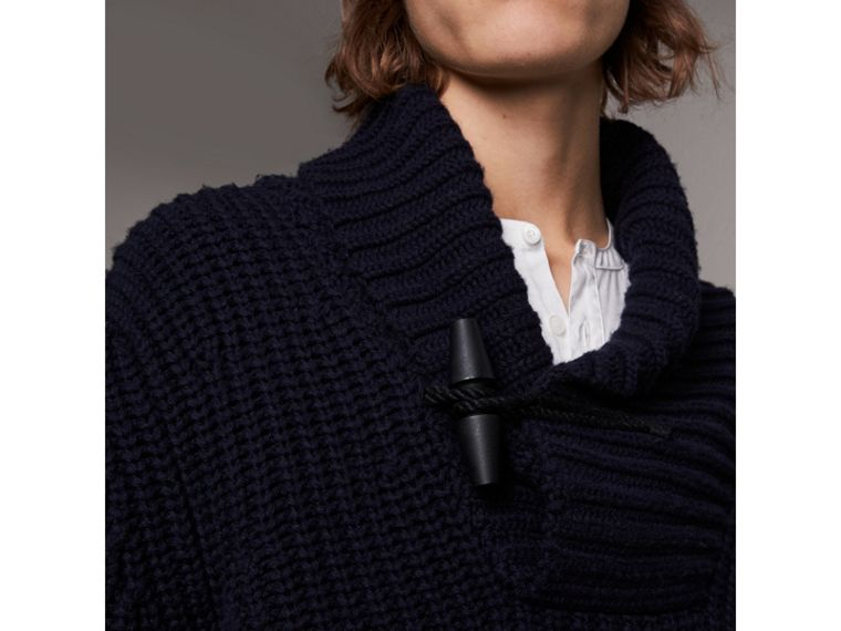 Shawl Collar Wool Cashmere Sweater in Navy - Men | Burberry Singapore - cell image 1