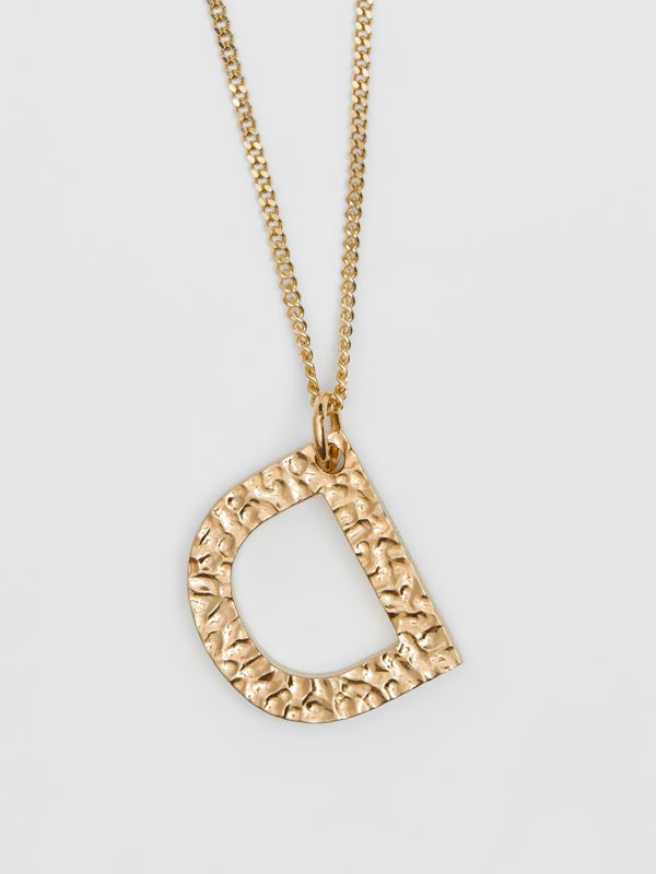 'D' Alphabet Charm Gold-plated Necklace in Light - Women | Burberry United Kingdom - cell image 2