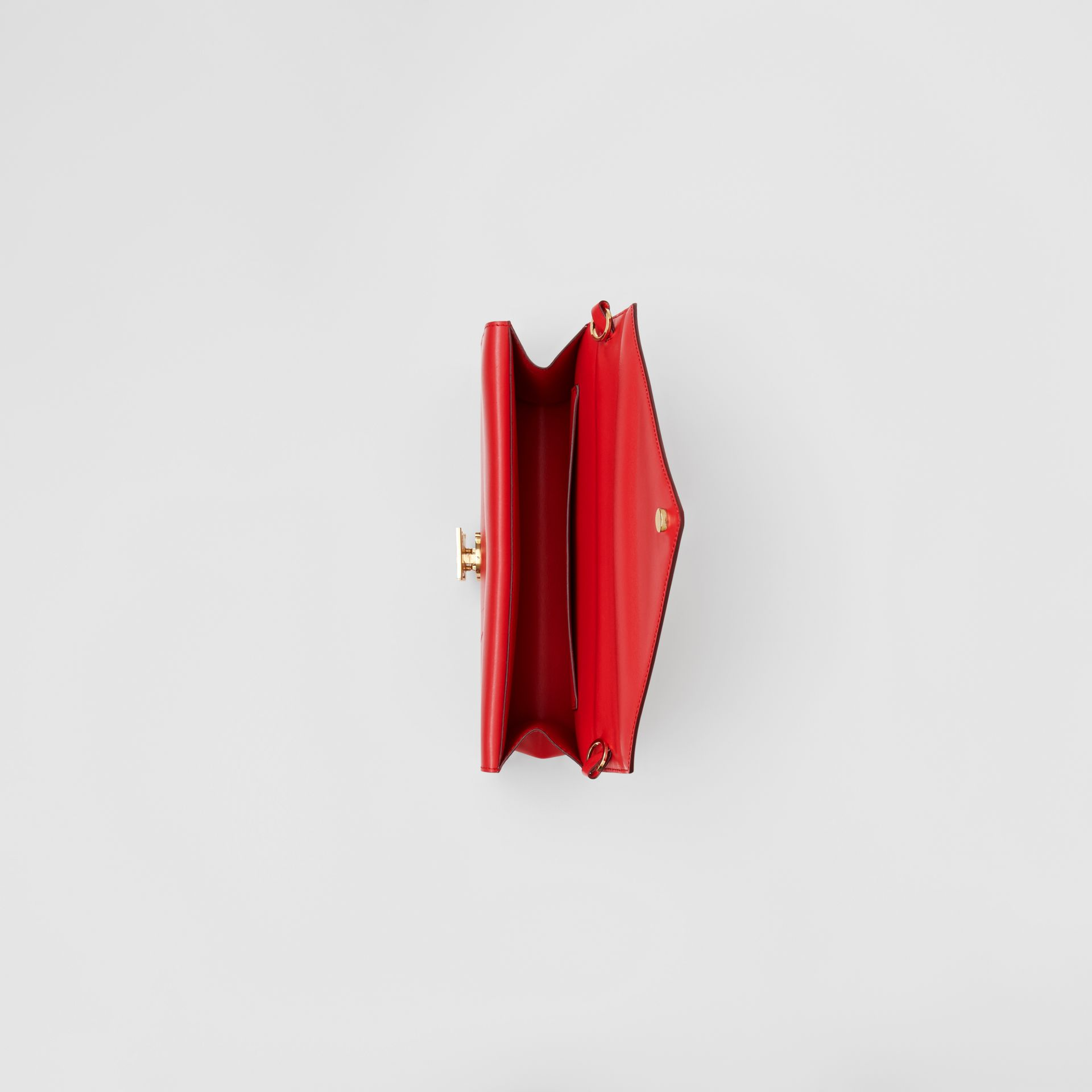Small Leather TB Envelope Clutch in Bright Military Red - Women | Burberry - gallery image 4
