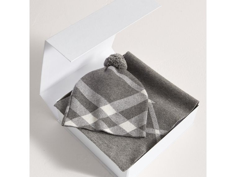 Check Cotton Cashmere Two-piece Gift Set in Mid Grey Melange - Girl | Burberry - cell image 2