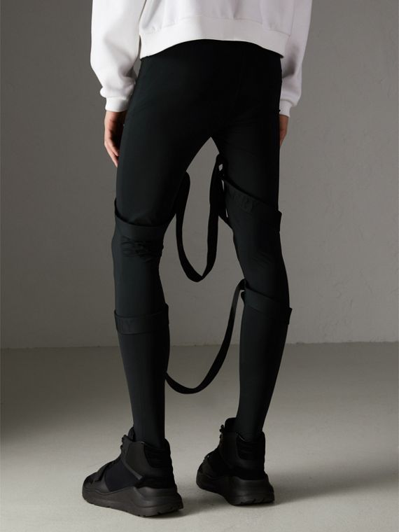 Strap Detail Jersey Leggings in Black | Burberry Canada - cell image 2