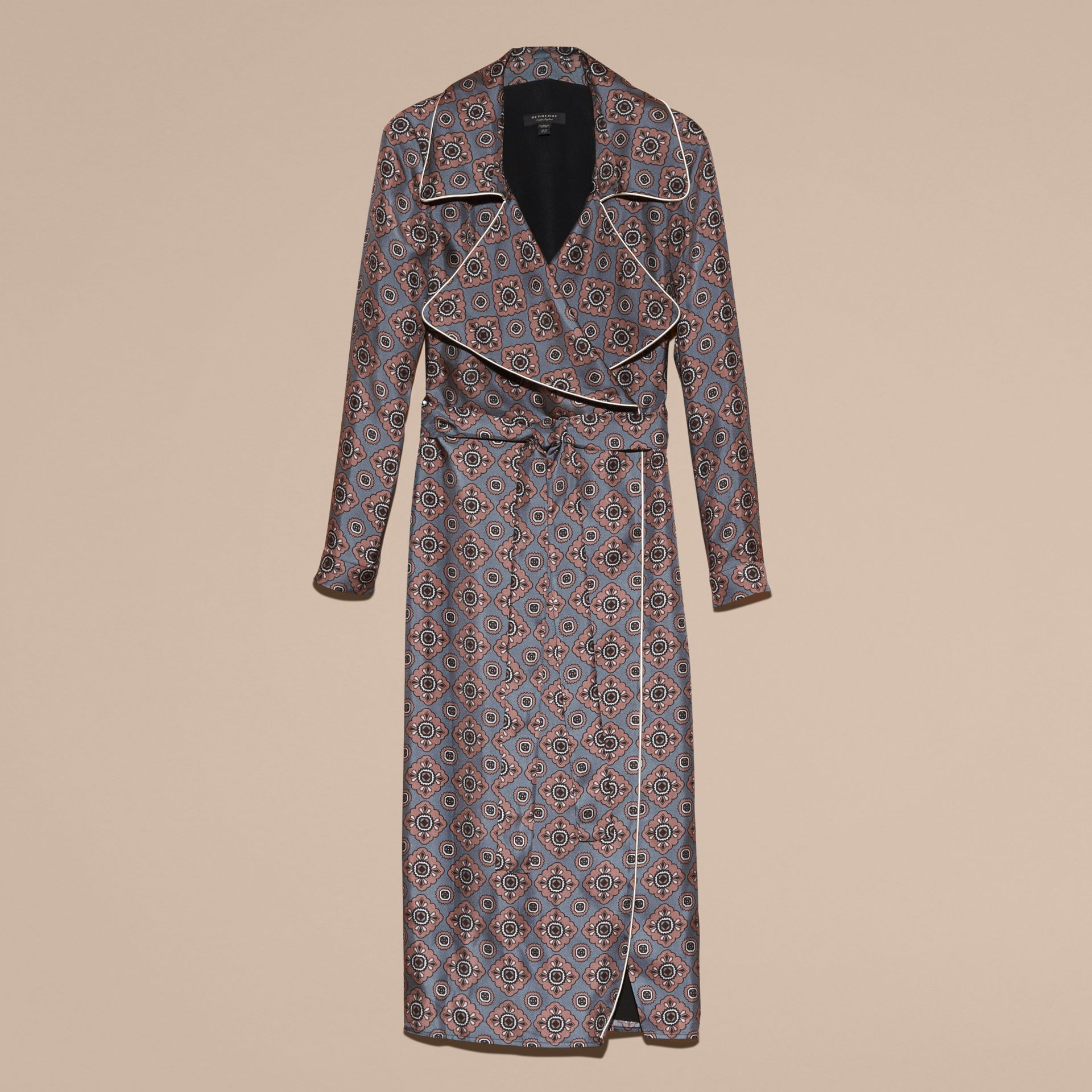 Light steel blue Printed Silk Wrap Trench Dress with Piping - gallery image 4
