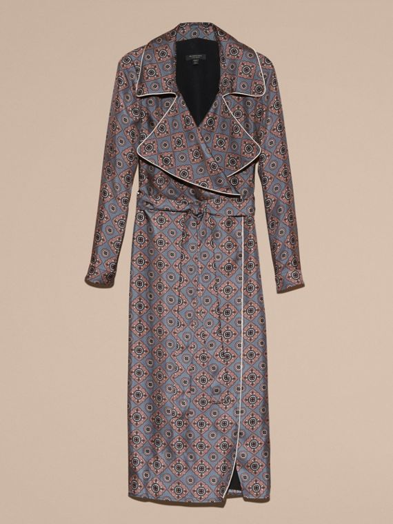 Light steel blue Printed Silk Wrap Trench Dress with Piping - cell image 3