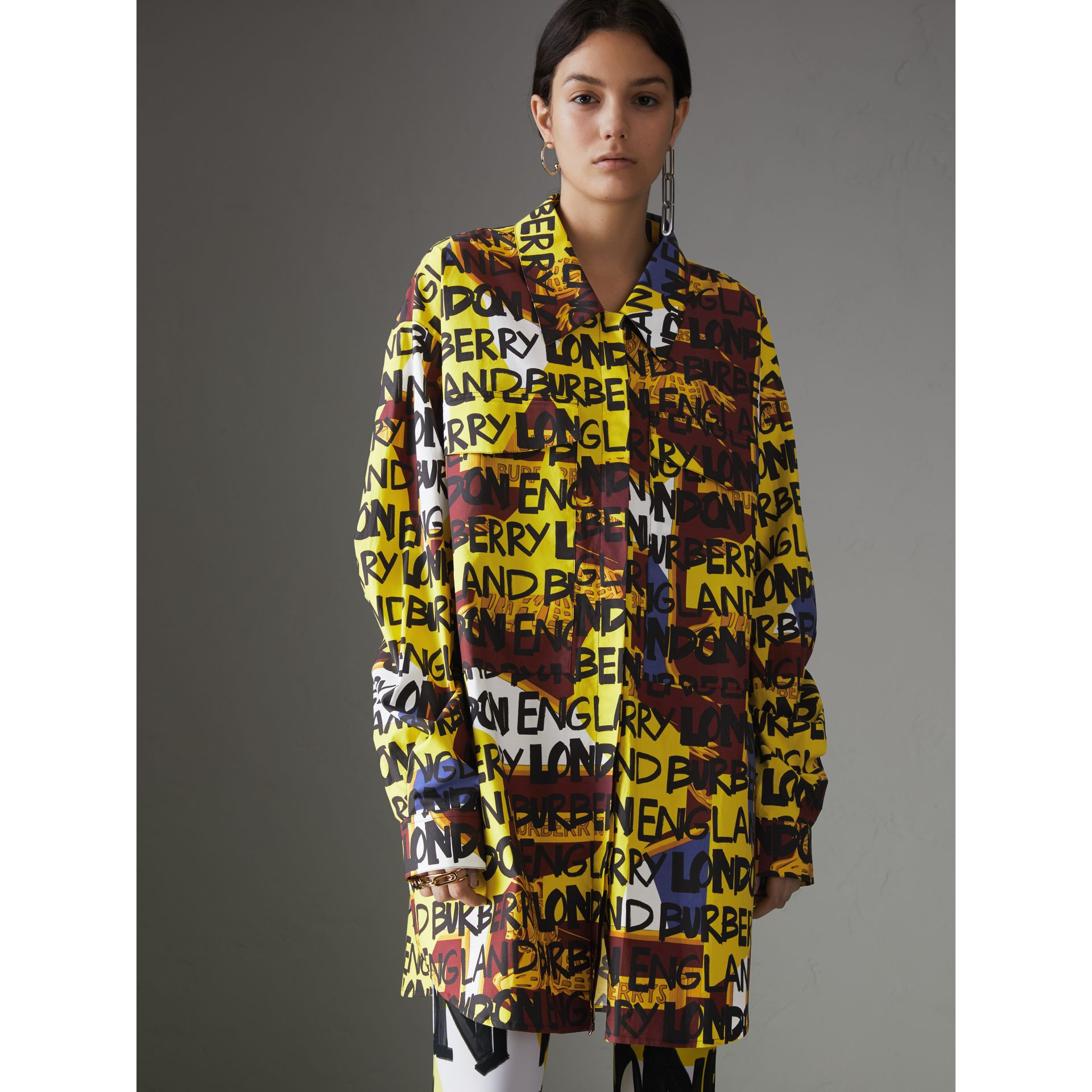 Graffiti Print Stretch-cotton Shirt in Bright Yellow - Women | Burberry Hong Kong - gallery image 4
