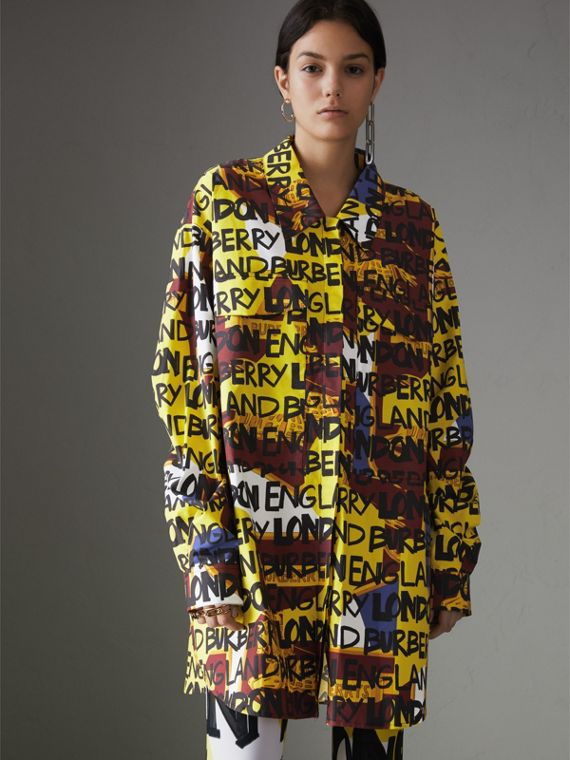 Graffiti Print Stretch-cotton Shirt in Bright Yellow