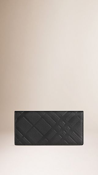 Embossed Check Leather Continental Wallet