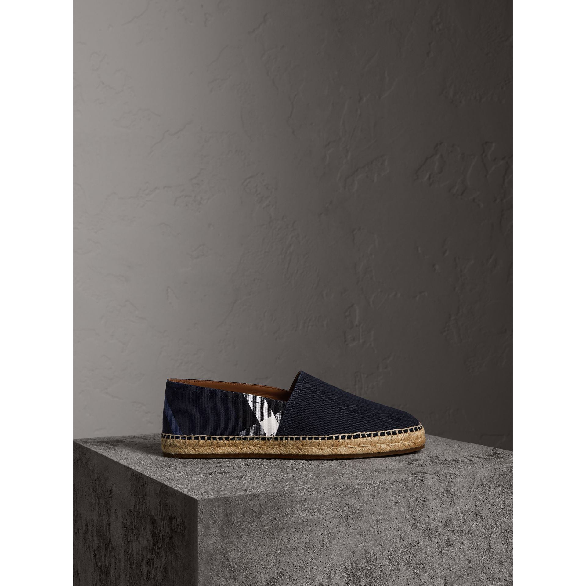 Overdyed House Check and Cotton Canvas Espadrilles in Indigo Blue - Men | Burberry Australia - gallery image 4