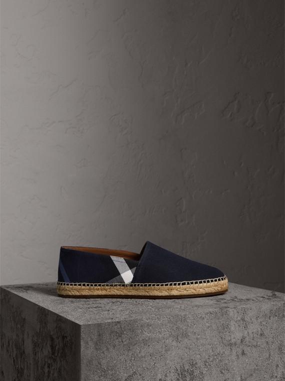 House 格紋棉質帆布套染麻織鞋 (靛藍色)