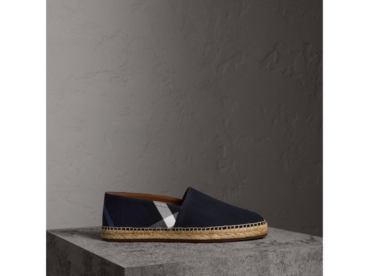 Overdyed House Check and Cotton Canvas Espadrilles in Indigo Blue - Men | Burberry United Kingdom - cell image 4