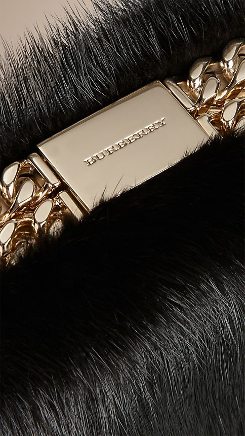 Black Chain-Detail Mink Box Clutch - Image 6