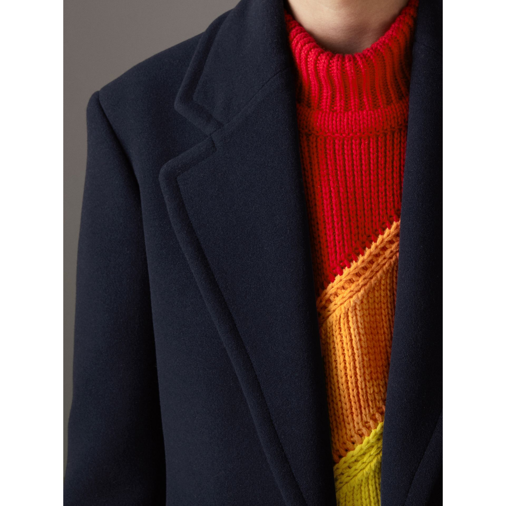 Wool Cashmere Overcoat in Dark Blue | Burberry Australia - gallery image 1