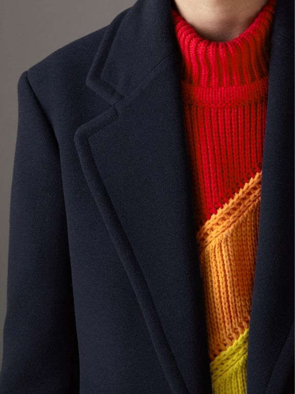 Wool Cashmere Overcoat in Dark Blue | Burberry Australia - cell image 1