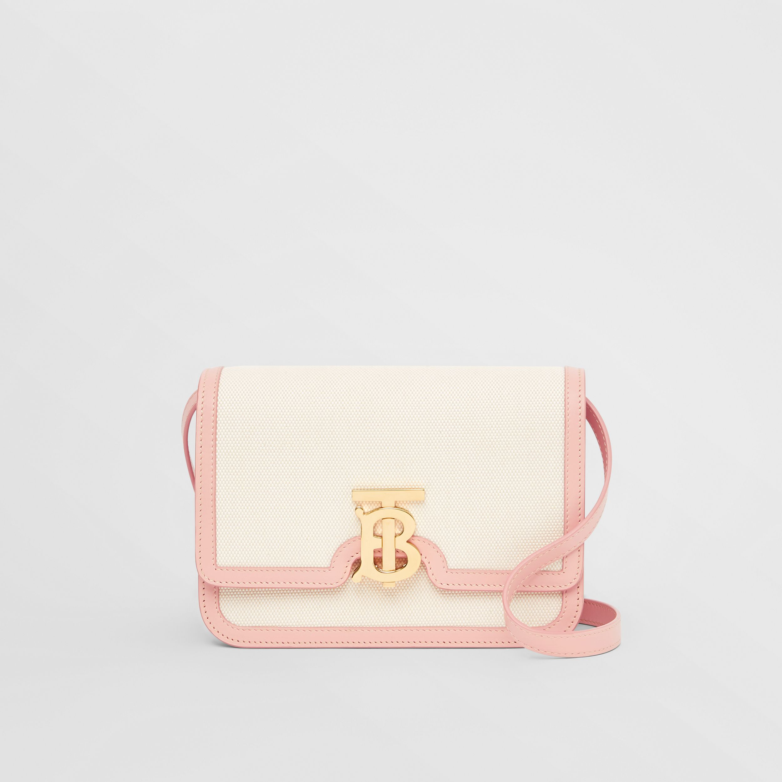 Small Two-tone Canvas and Leather TB Bag in Blush Pink - Women | Burberry - 1