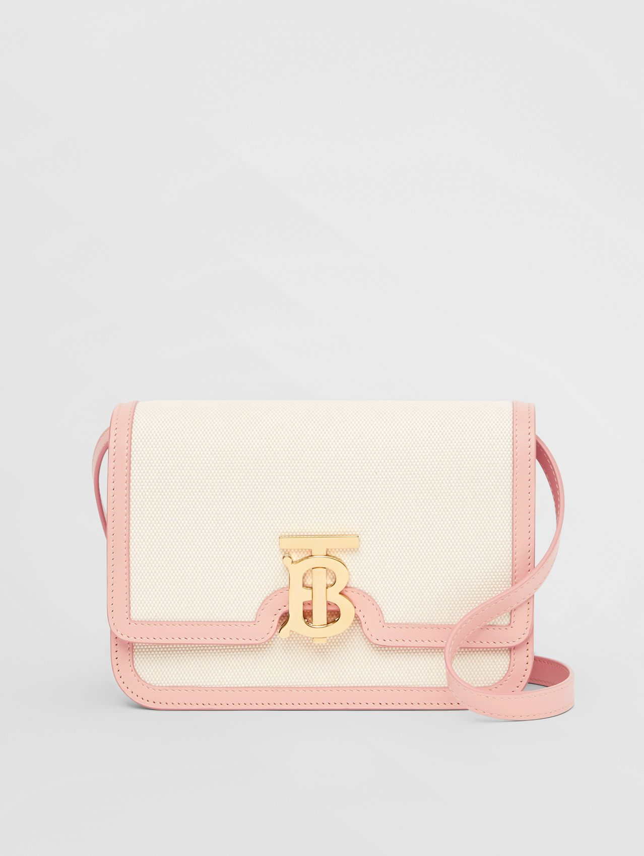 Small Two-tone Canvas and Leather TB Bag in Blush Pink