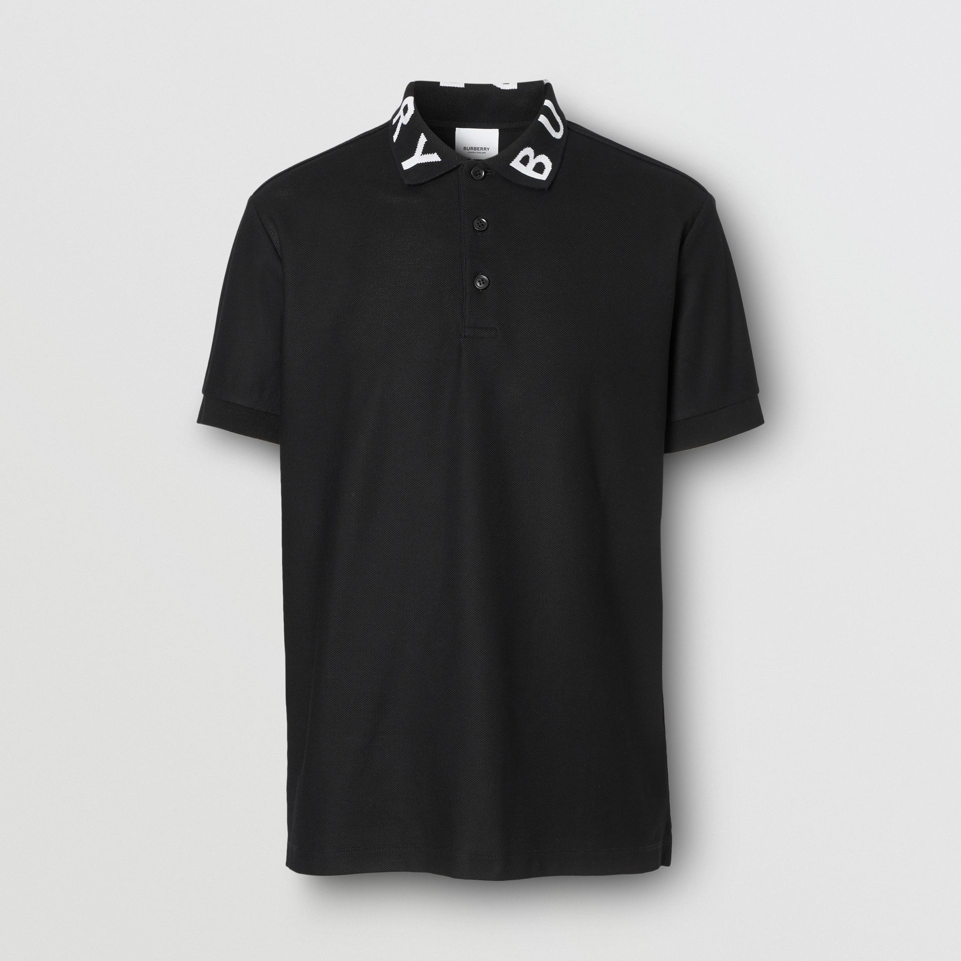 Logo Intarsia Cotton Piqué Polo Shirt in Black - Men | Burberry - gallery image 3