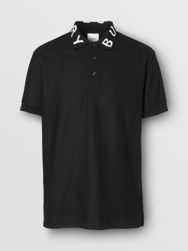Logo Intarsia Cotton Piqué Polo Shirt in Black - Men | Burberry - cell image 3