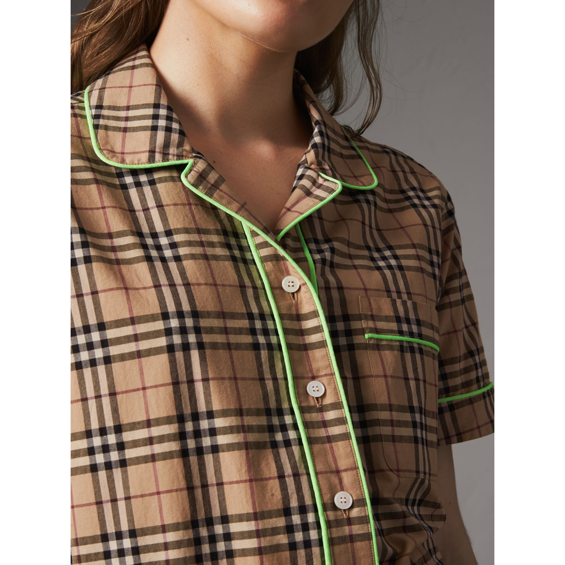 Contrast Piping Check Cotton Pyjama-style Shirt in Camel - Women | Burberry - gallery image 1