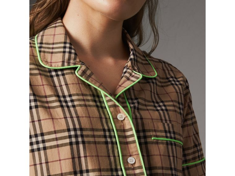 Contrast Piping Check Cotton Pyjama-style Shirt in Camel - Women | Burberry - cell image 1