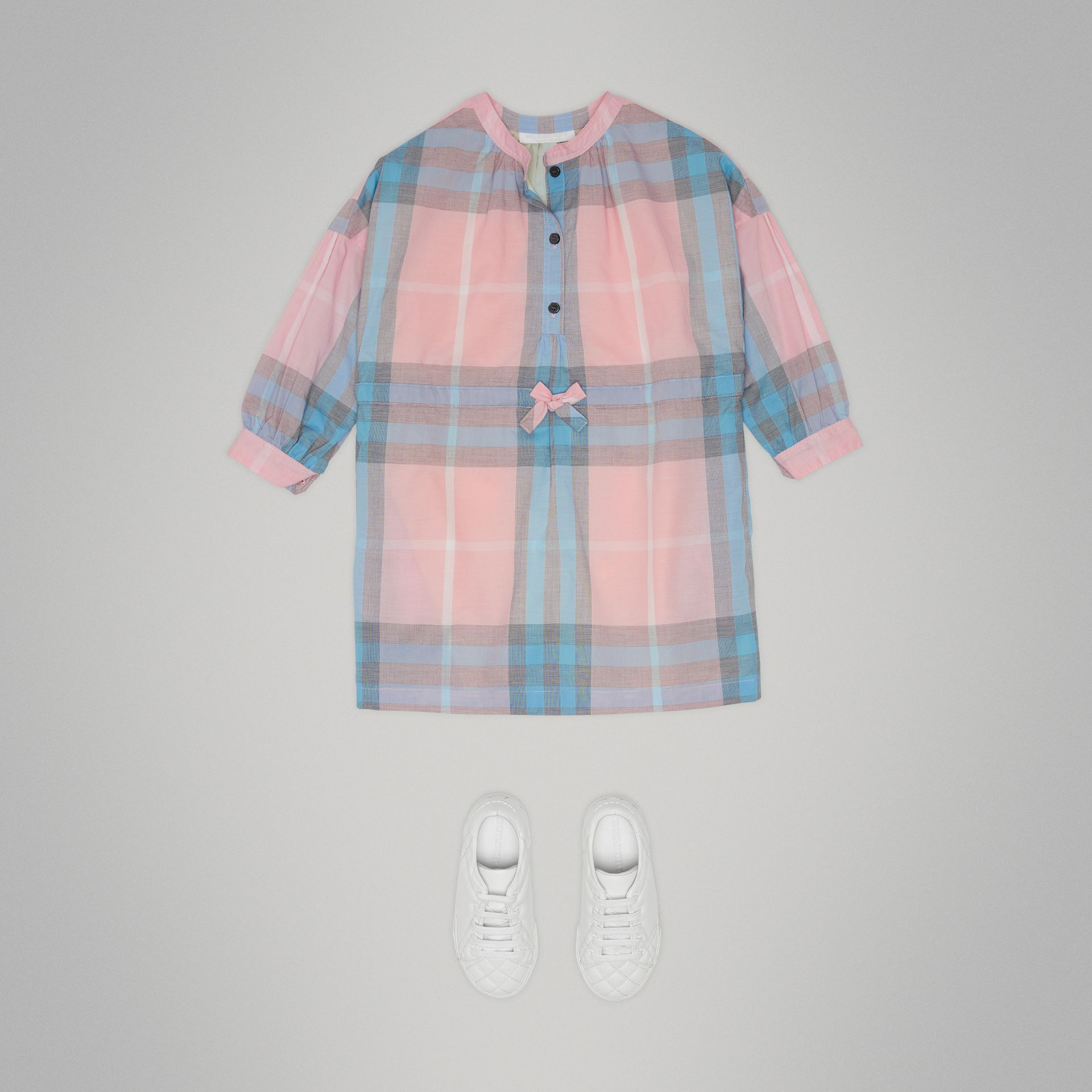 Check Cotton Shirt Dress in Ice Pink | Burberry - gallery image 2