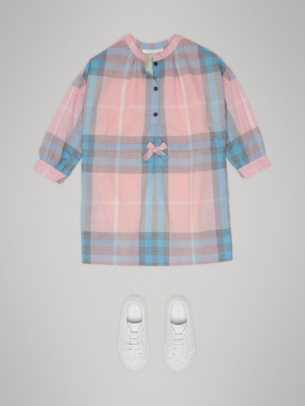 Check Cotton Shirt Dress in Ice Pink | Burberry - cell image 2