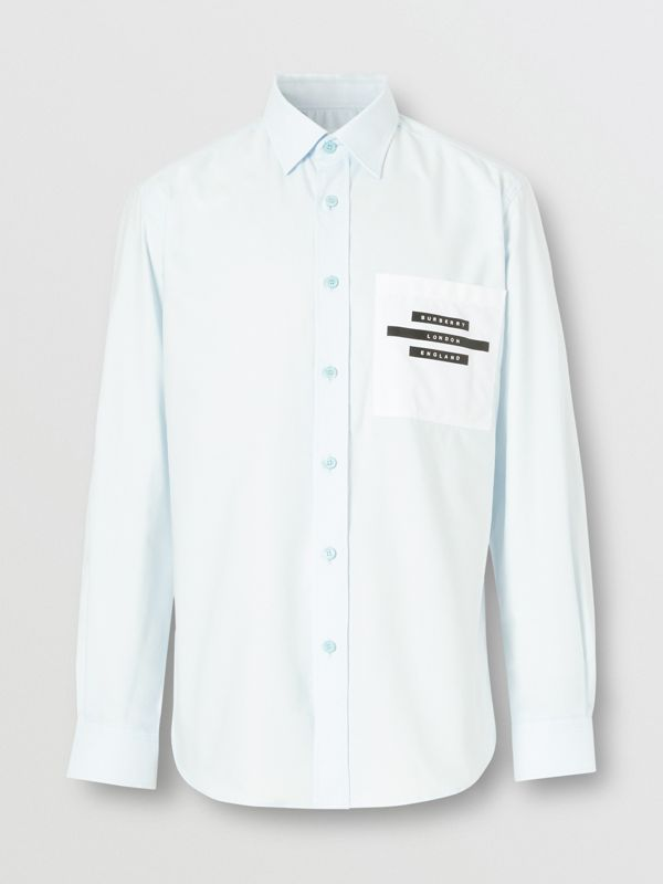 Classic Fit Tape Print Cotton Oxford Shirt in Sky Blue - Men | Burberry - cell image 3