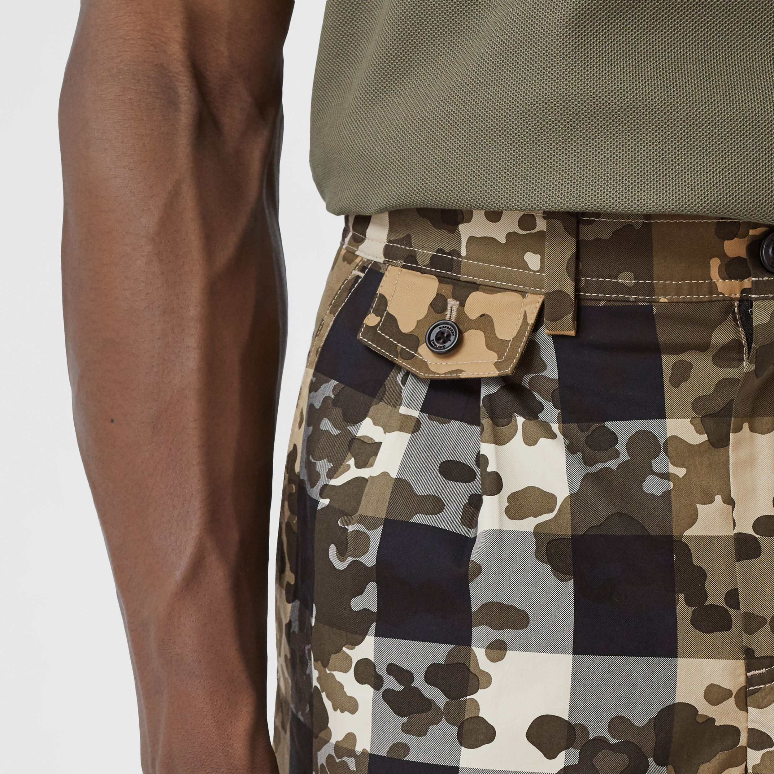 Camouflage Check Cotton Twill Tailored Shorts in Archive Beige - Men | Burberry - 2