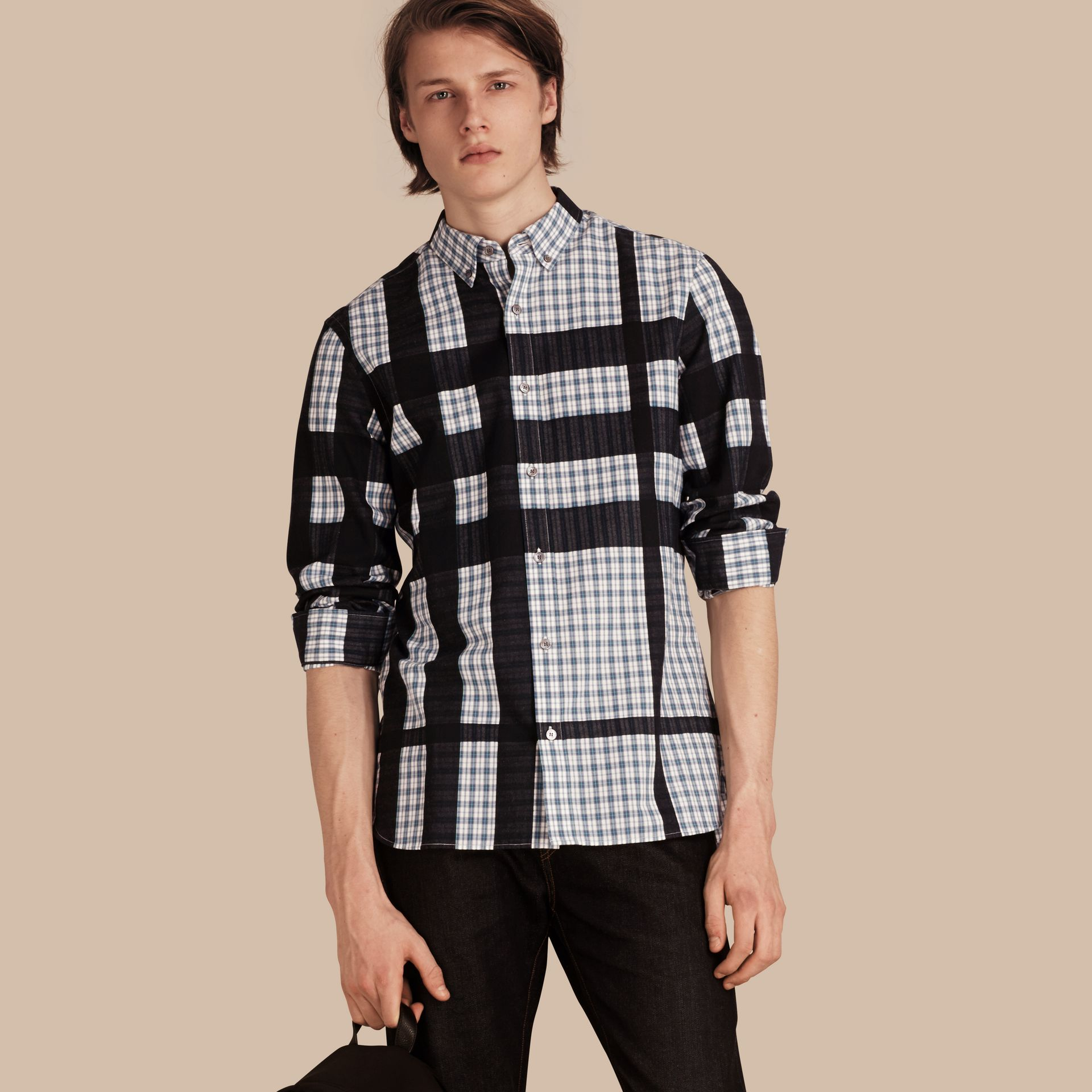 Bright steel blue Check Jacquard Cotton Flannel Shirt Bright Steel Blue - gallery image 1