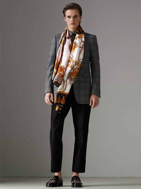 Archive Scarf Print Silk Scarf in Gold | Burberry - cell image 3