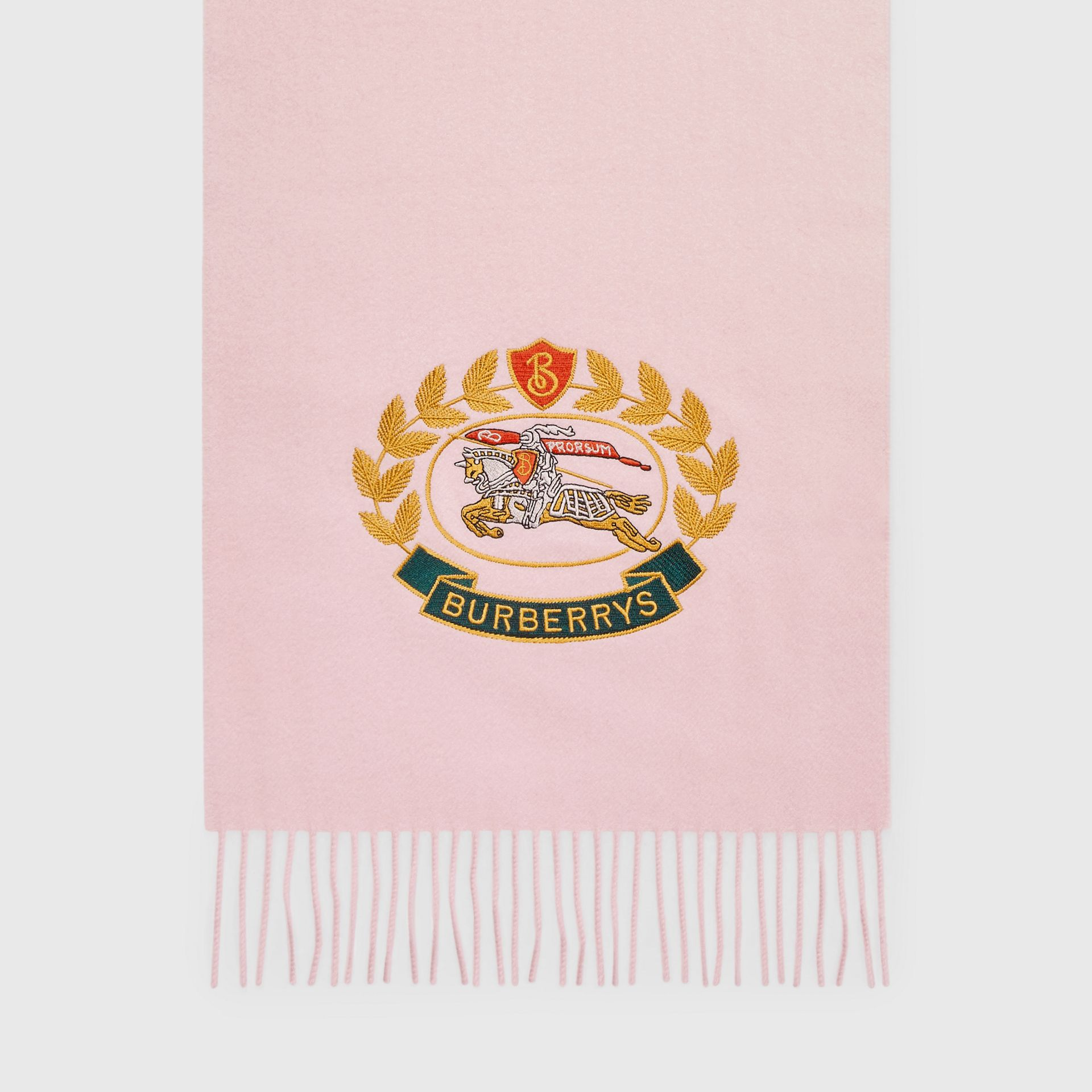 The Classic Cashmere Scarf with Archive Logo in Pale Rose | Burberry - gallery image 4