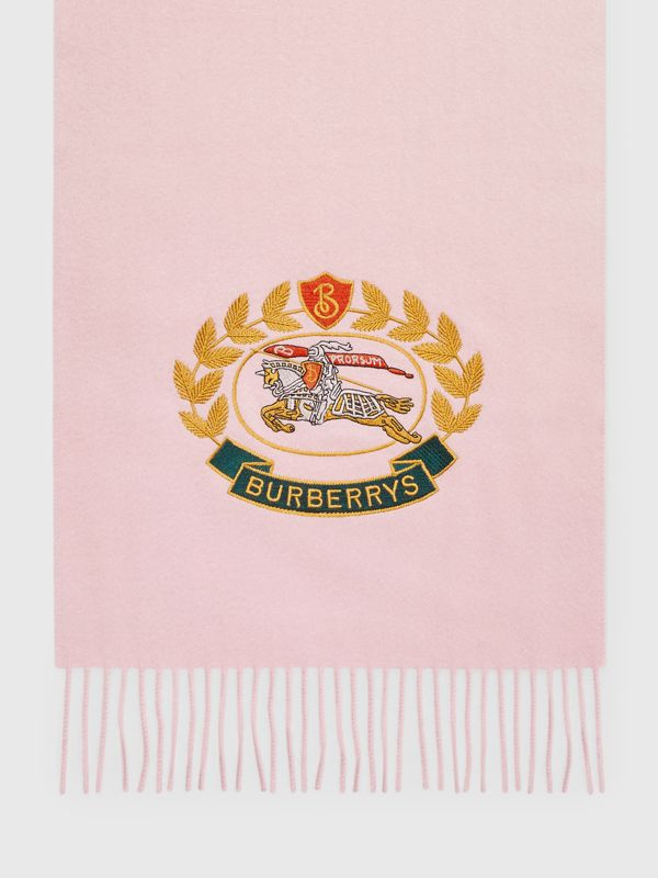The Classic Cashmere Scarf with Archive Logo in Pale Rose | Burberry - cell image 3