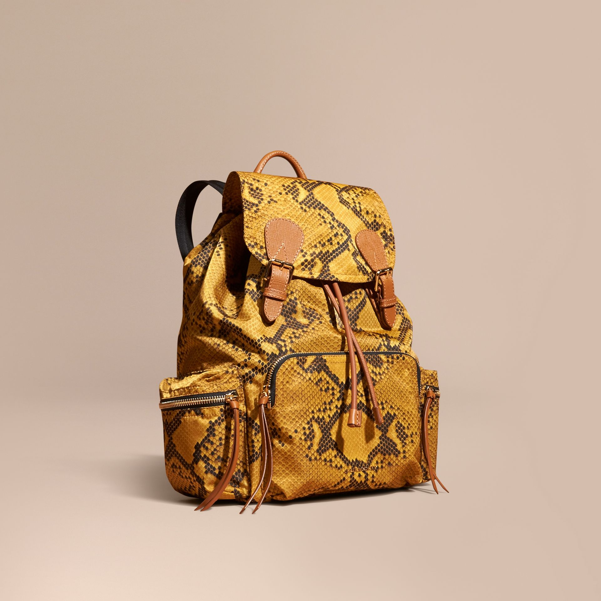 The Large Rucksack in Python Print Nylon and Leather in Yellow - gallery image 1