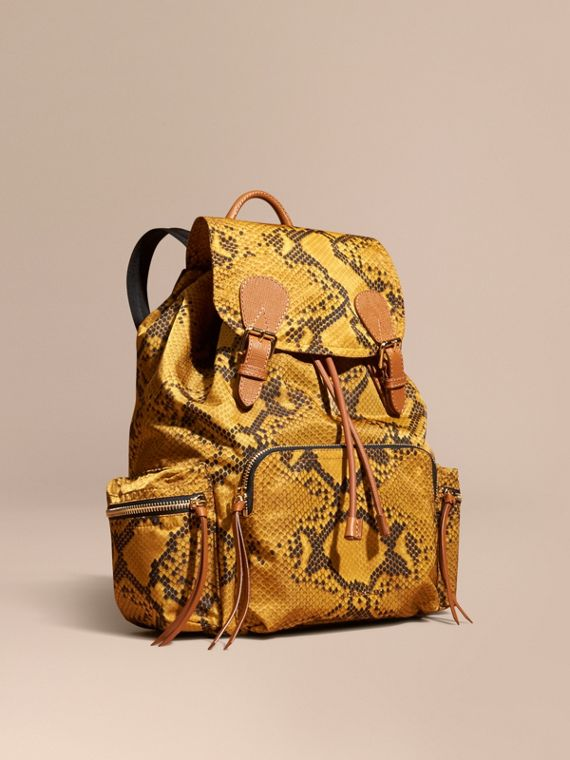The Large Rucksack in Python Print Nylon and Leather in Yellow