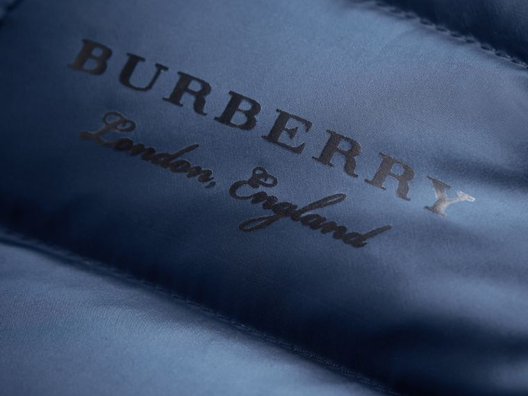 Shower-resistant Hooded Puffer Jacket in Ink Blue | Burberry Singapore - cell image 1