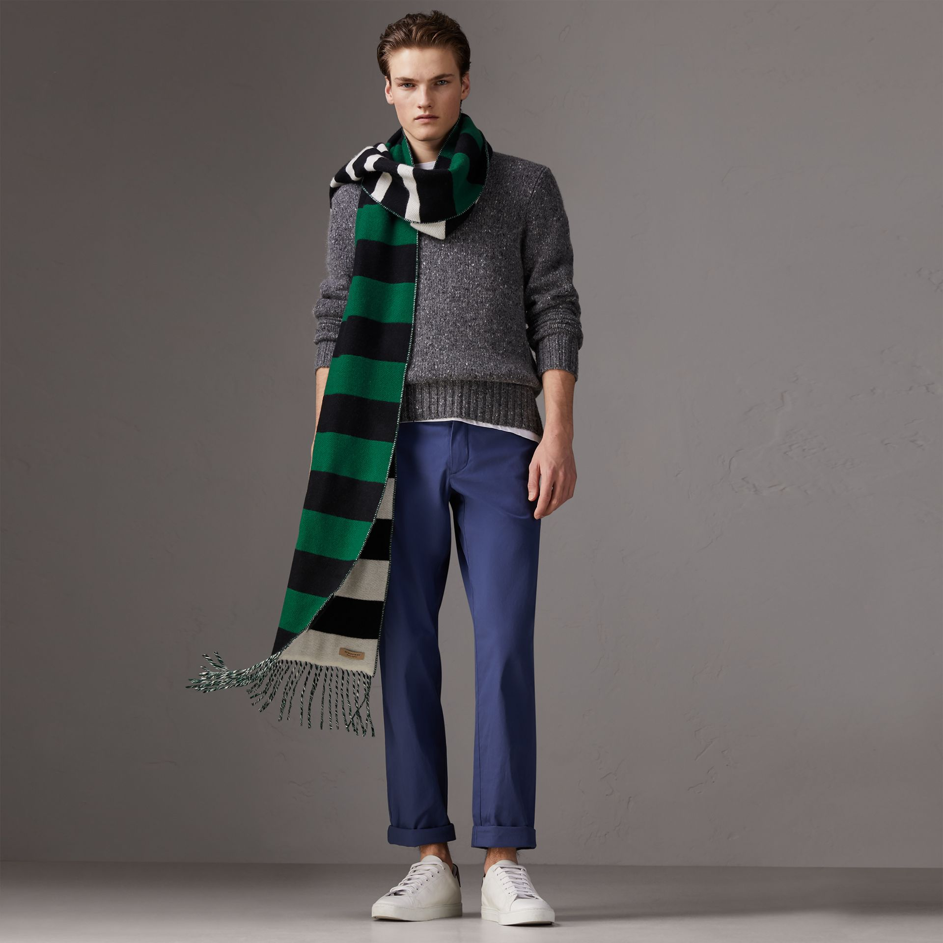 Cotton Twill Chinos in Steel Blue - Men | Burberry - gallery image 0