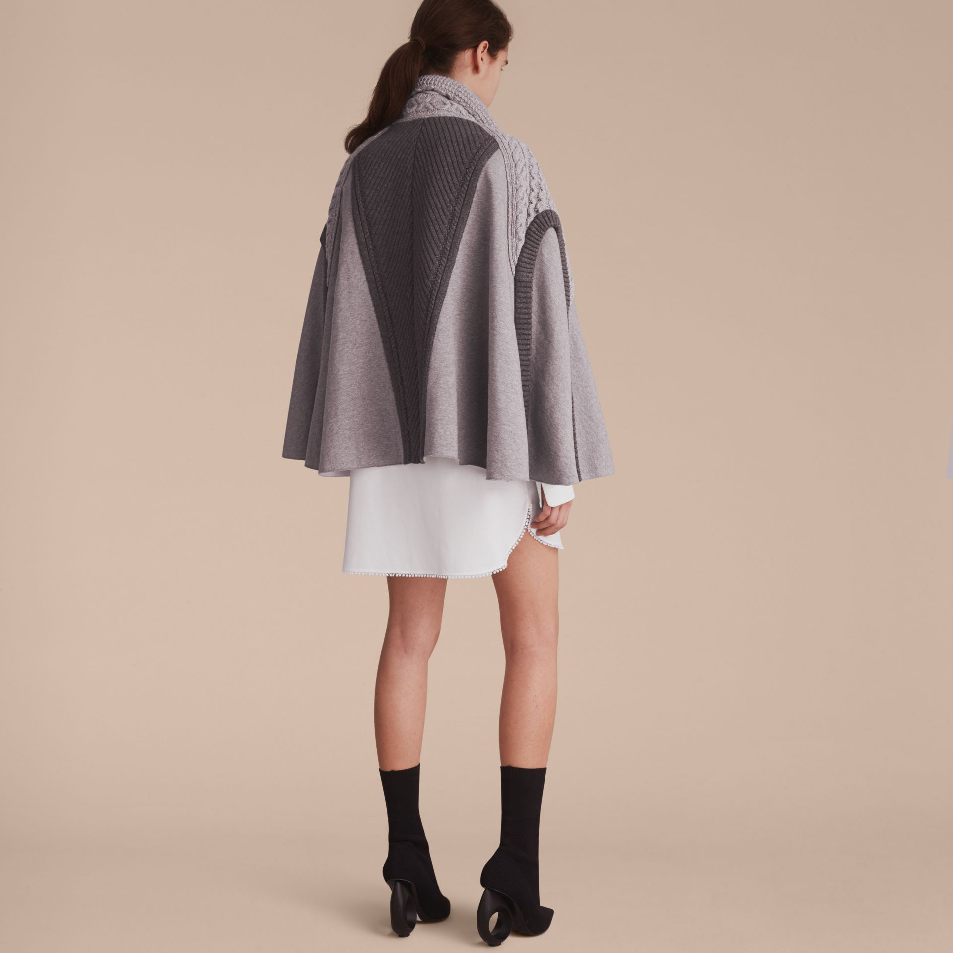Cable Knit Cotton Blend Panelled Poncho in Grey Melange - Women | Burberry Singapore - gallery image 3