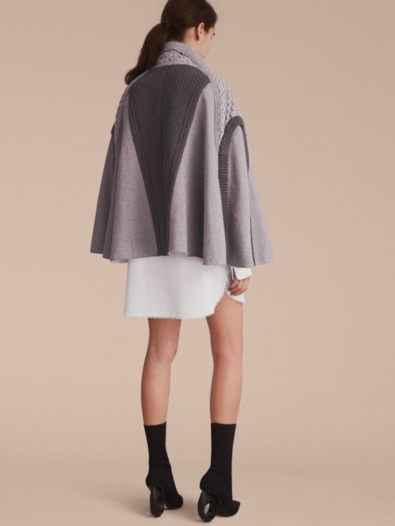 Cable Knit Cotton Blend Panelled Poncho in Grey Melange - Women | Burberry - cell image 2