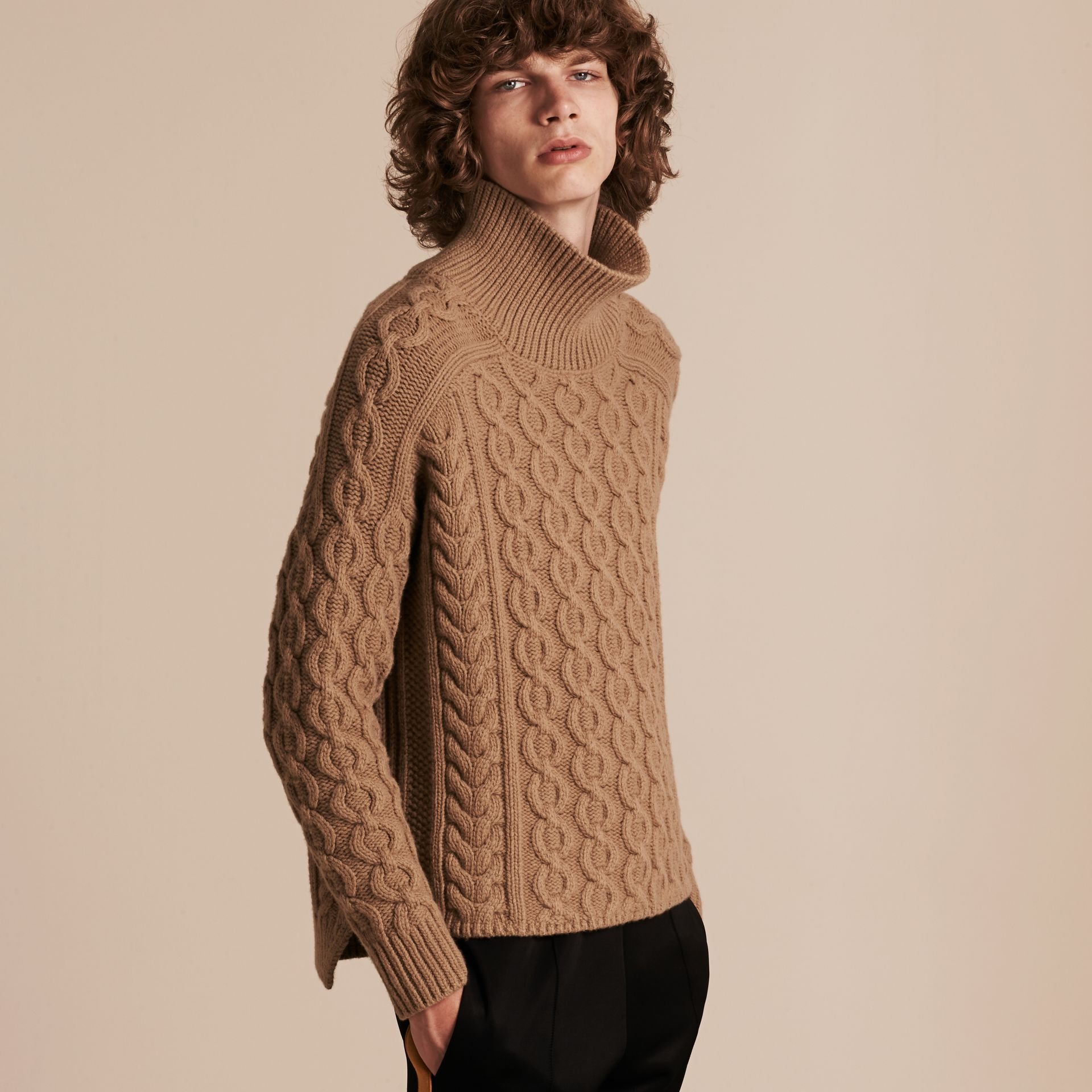 Camel Wool Cashmere Cable Knit Jumper - gallery image 6