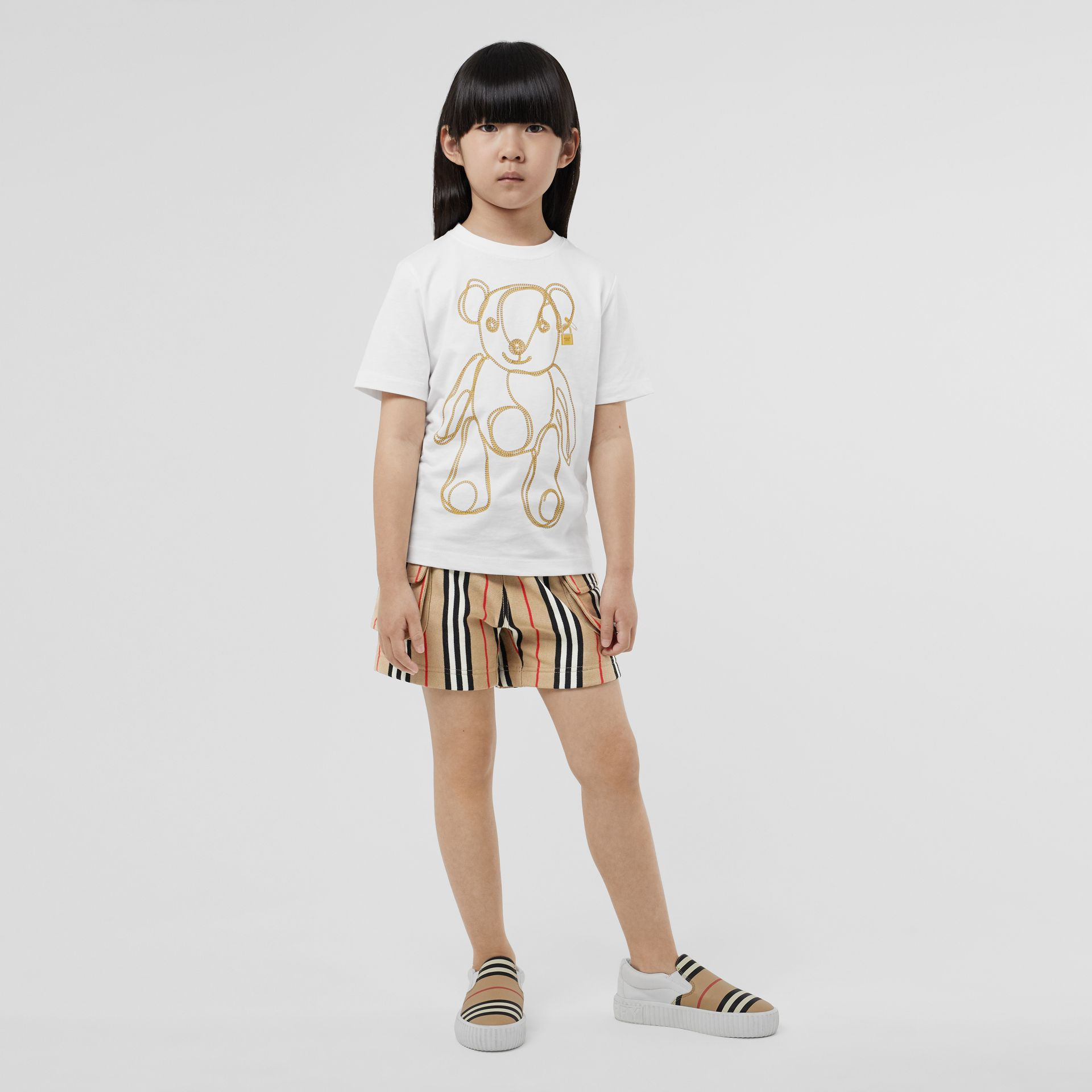 Chain Print Cotton T-shirt in White | Burberry Singapore - gallery image 2