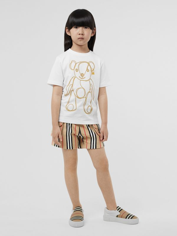 Chain Print Cotton T-shirt in White | Burberry Singapore - cell image 2
