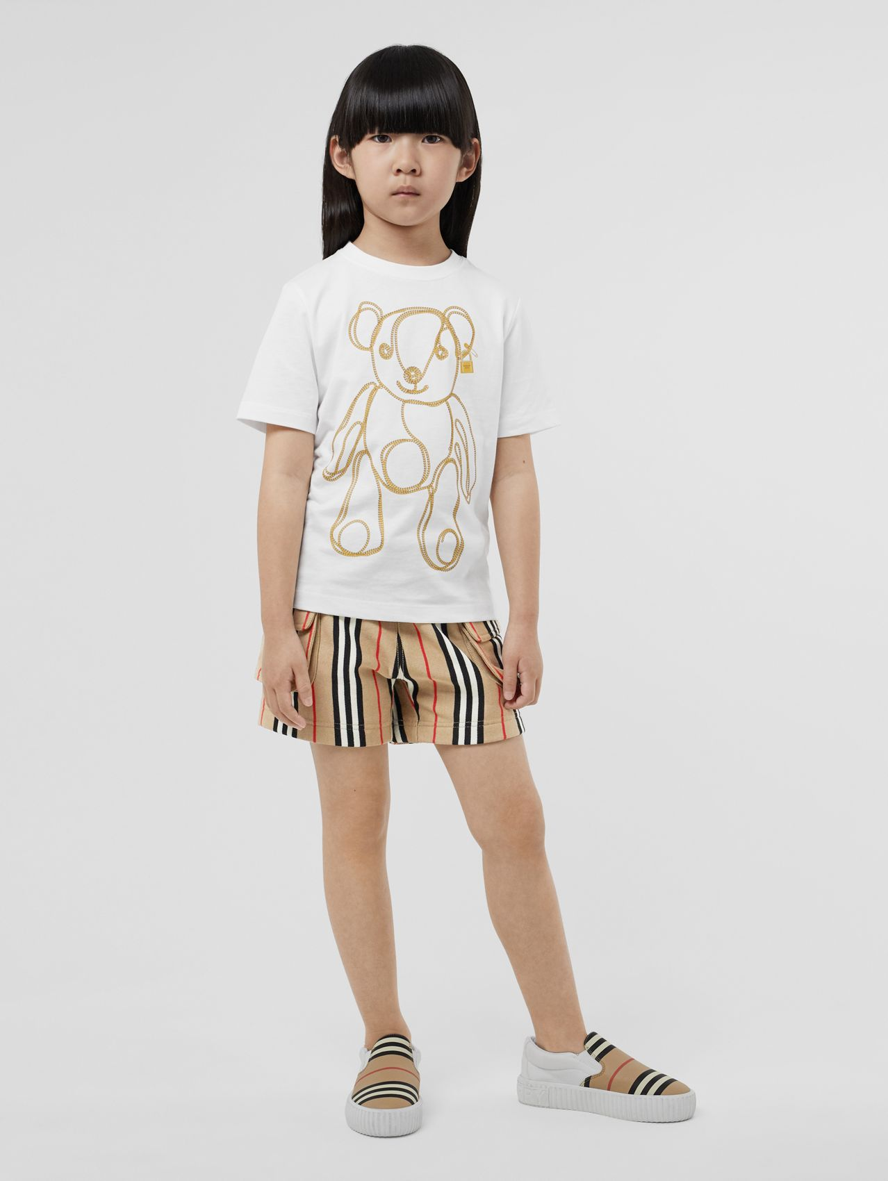 Chain Print Cotton T-shirt (White)