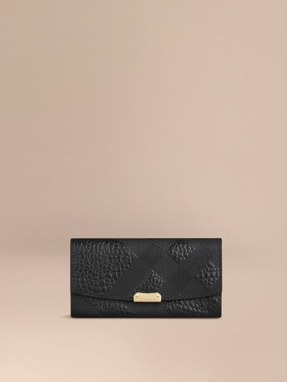 Embossed Check Leather Continental Wallet Black