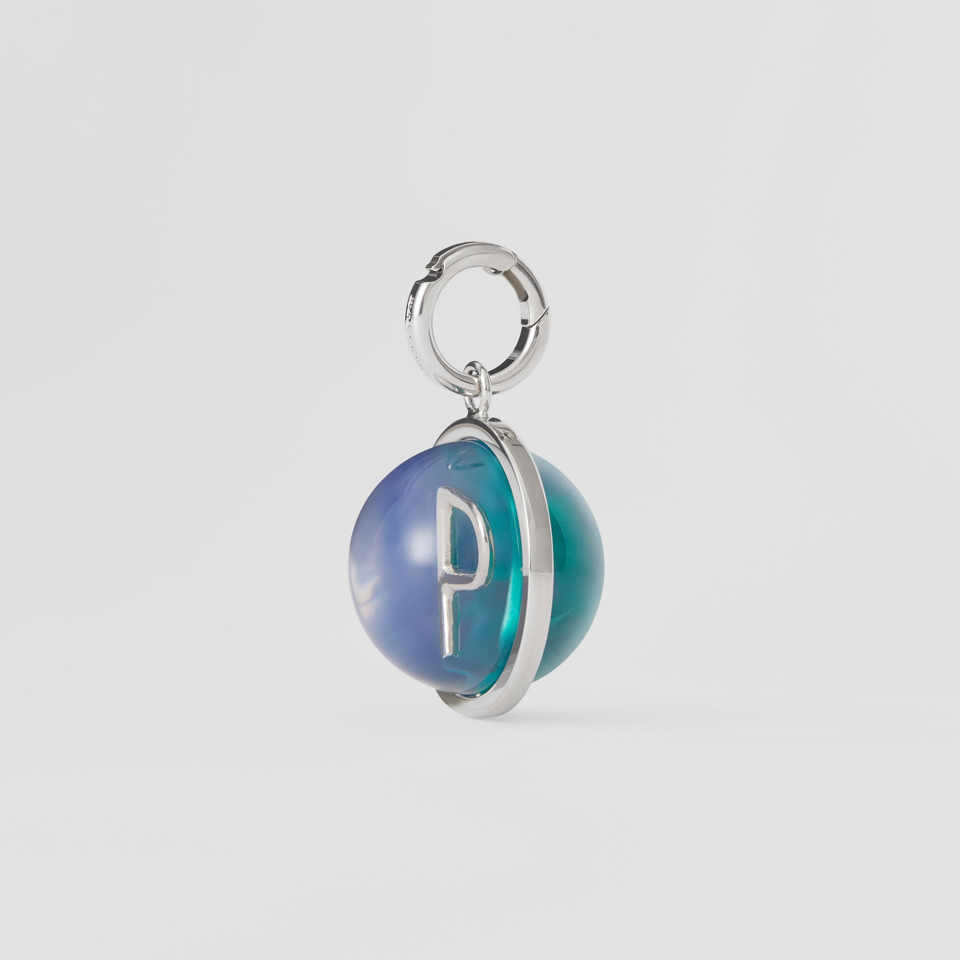 Marbled Resin 'P' Alphabet Charm in Palladio/ocean Blue - Women | Burberry - gallery image 4